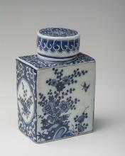 DUTCH DELFT BLUE AND WHITE TEA CANISTER AND COVER, CIRCA 1690.