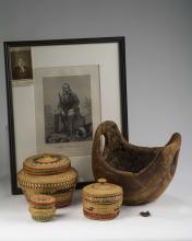 CARVED BURLWOOD BOWL AND THREE PACIFIC NORTHWEST COAST NATIVE AMERICAN WOVEN BASKETS, NOOTKA/ MAKAH GROUP, CIRCA 1920.
