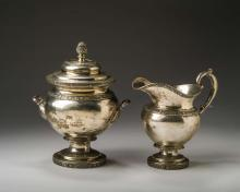NEW YORK, NEW YORK SILVER SUGAR BOWL AND COVER AND CREAM PITCHER, JOHN H. CONNOR, 1833-37.