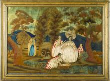HANDPAINTED SILK NEEDLEWORK PICTURE OF THE BIBLICAL STORY