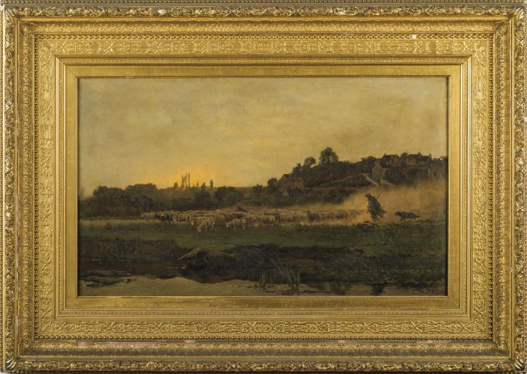 Alexandre Rene Veron French 1826 1897 Landscape With Shep