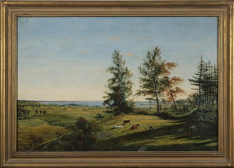 JOHN BACHMANN (AMERICAN 1814-1896). VIEW OF NEW YORK FROM NEW JERSEY, 1839.