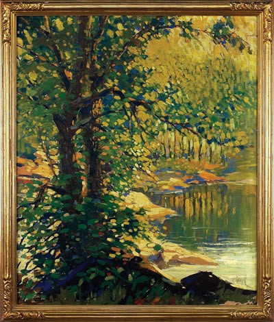 FRANK HAZELL (AMERICAN 1883-1958). LANDSCAPE WITH TREES BESIDE A POND.