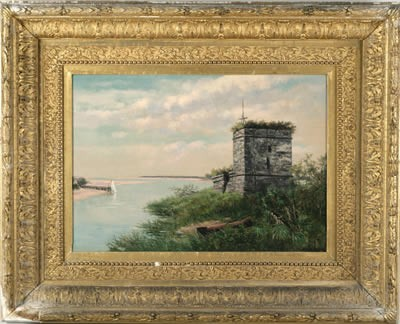 FRANK HENRY SHAPLEIGH (AMERICAN 1842- 1906). RUIN OF OLD SPANISH FORT AT MANTANZAS, FLORIDA.