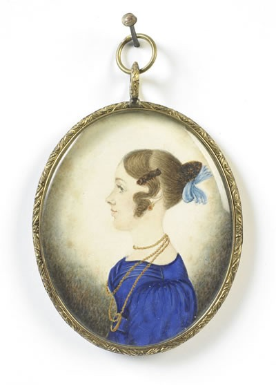 J.H. GILLESPIE (active 1828-1838) PAIR OF OVAL MINIATURE PROFILE PORTRAITS OF A YOUNG COUPLE.