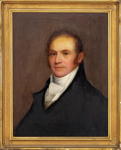 ETHAN ALLEN GREENWOOD (AMERICAN 1779- 1856). PORTRAIT OF PHILIP REYNOLDS RIDGWAY (1776-1821) OF BROOKLINE, MASSACHUSETTS, PAINTED JANUARY 3, 1821.