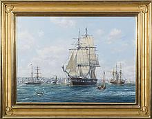 """ROY CROSS, R.S.M.A. (BRITISH, B. 1924). THE """"CORNELIUS GRINNELL"""" IN NEW YORK HARBOR."""