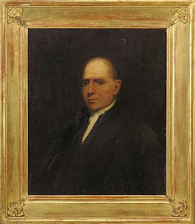 1032 LEOPOLD GOULD SEYFFERT (AMERICAN 1887- 1956). PORTRAIT OF LUKE WISTAR MORRIS. Oil on canvas, 30 x 25 inches. Signed, dated and inscribed on the reverse 'Luke Wister Morris/ born June 20 1830/ died June 4 1830/ painted from photo/ L.G. Seyffert/