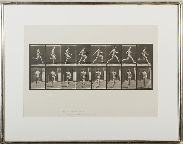 EADWEARD MUYBRIDGE (BRITISH 1830-1904). MAN RUNNING FROM