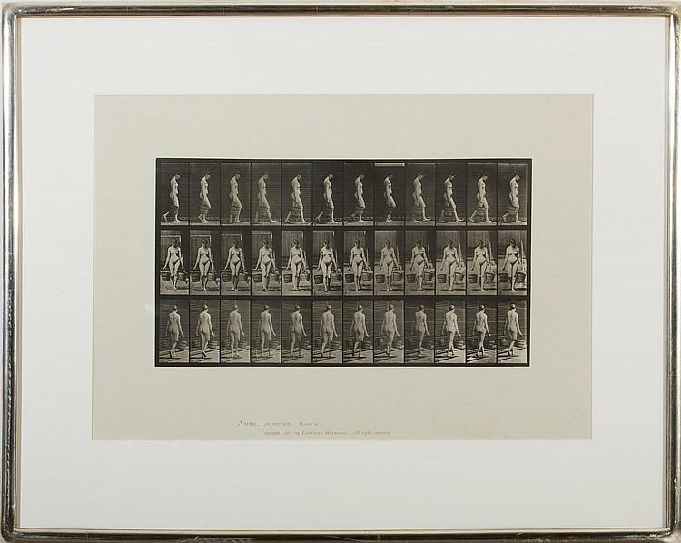 EADWEARD MUYBRIDGE (BRITISH 1830-1904). WOMAN WALKING WHILE CARRYING BUCKETS FROM