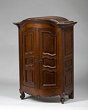 FRENCH PROVINCIAL STYLE MINIATURE OAK ARMOIRE.