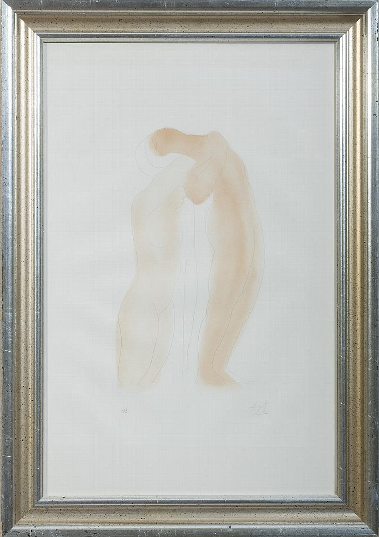 TWO NUDE FIGURES IN THE STYLE OF RODIN.