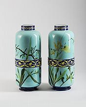 PAIR OF CREIL ET MONTEREAU FAIENCE PALE TURQUOISE-GLAZED VASES IN THE AESTHETIC MOVEMENT STYLE, L. & CIE., LATE NINETEENTH CENTURY.