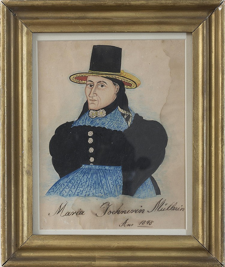WATERCOLOR PORTRAIT OF MARIA JOCHNESIN MULLERIN, 1848.