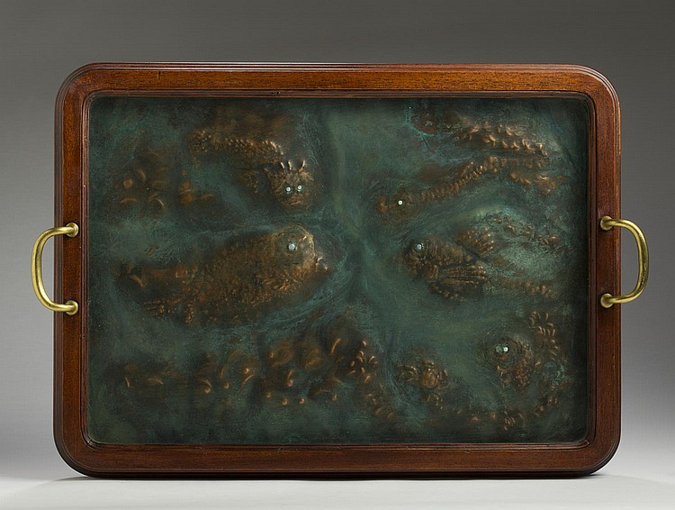 MARIA LONGWORTH NICHOLS STORER (AMERICAN 1849-1932, AND FOUNDER OF THE ROOKWOOD POTTERY IN 1880). ARTS & CRAFTS PATINATED COPPER PANEL, CINCINNATI, OHIO, CIRCA 1915.
