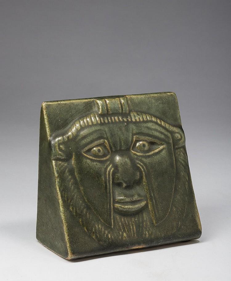 FULPER POTTERY 'AZTEC MASK' BOOKEND, FLEMINGTON, NEW JERSEY, 1910-15.
