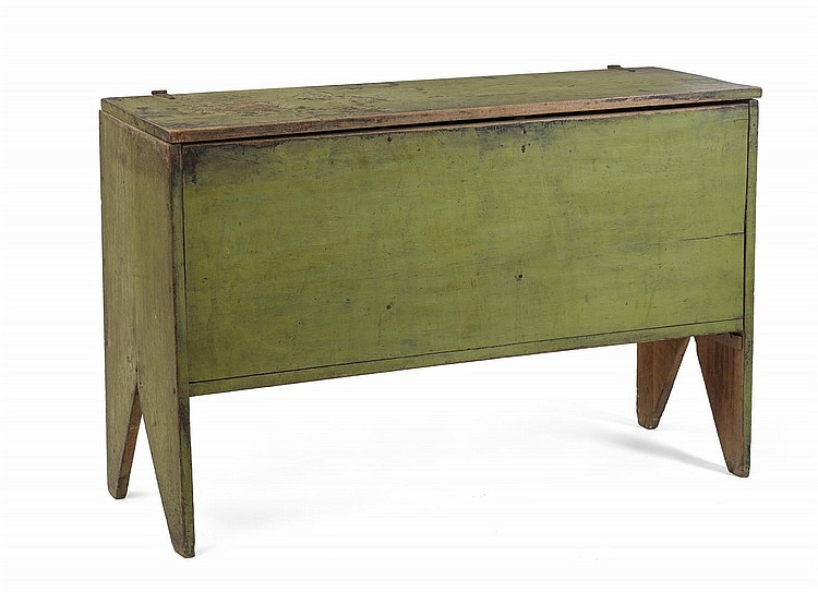 EARLY AMERICAN GREEN-PAINTED SIX-BOARD CHEST.