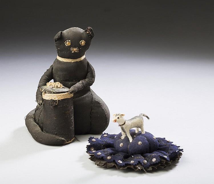 STUFFED BLACK COTTON CAT AND BASKET SPOOL HOLDER, AND A STUFFED FELT DOG PEN WIPE, MID-LATE NINETEENTH CENTURY.