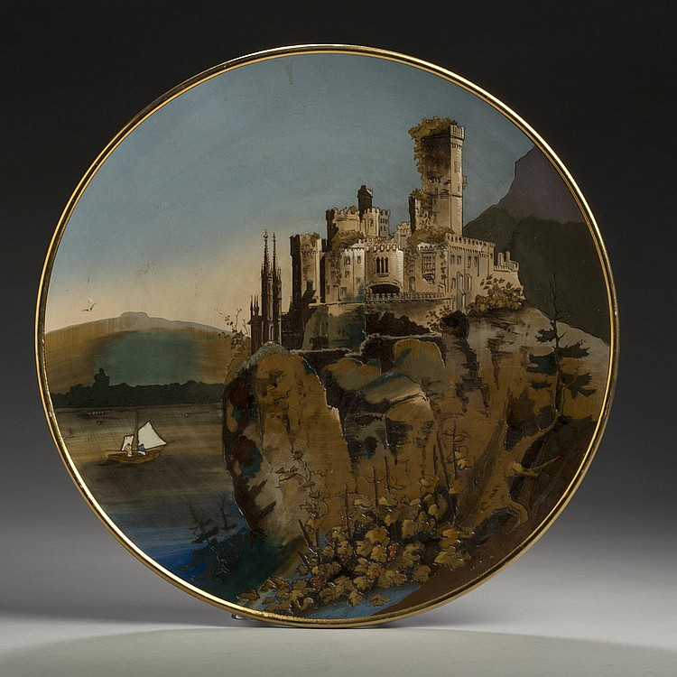 METTLACH (VILLEROY & BOCH) POTTERY PLAQUE #2196, ETCHED WITH A VIEW OF STOLZENFELS CASTLE ON THE RHINE, 1896.