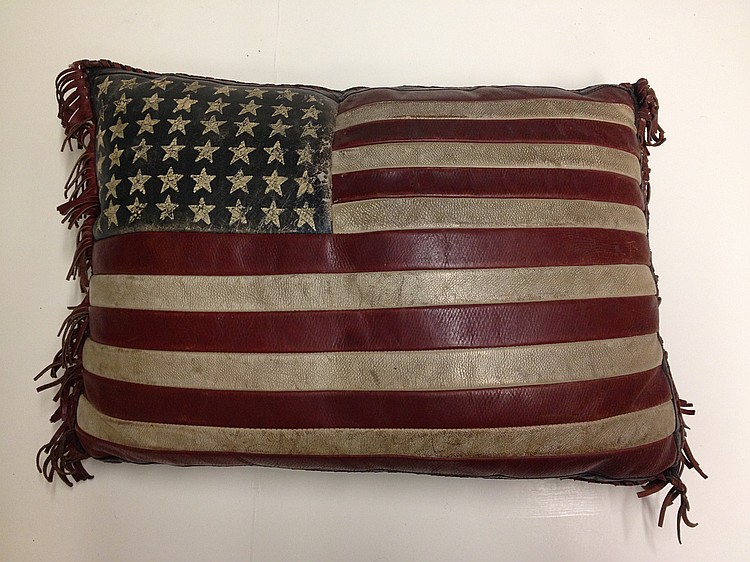 STARS AND STRIPES LEATHER PILLOW.