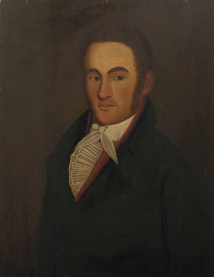 ZEDEKIAH BELKNAP (1781-1858). PAIR OF WEDDING PORTRAITS OF OBED AND NANCY HALE, CIRCA 1813.