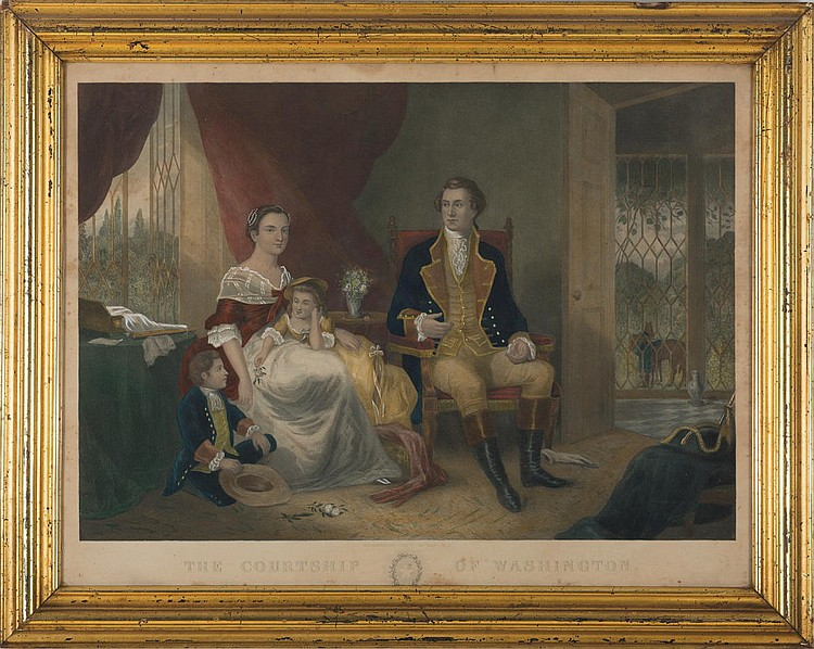 THE COURTSHIP OF WASHINGTON FRAMED HANDCOLORED ENGRAVING.