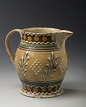 BRITISH CREAMWARE MOCHAWARE JUG, CIRCA 1820.