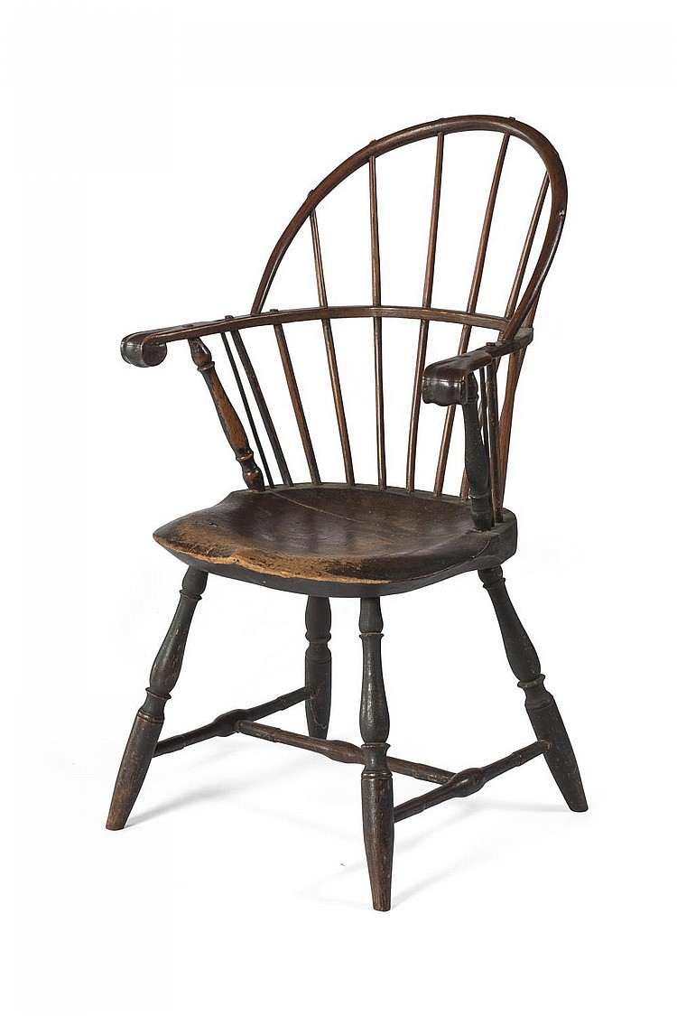 Windsor Arm Chairs ~ Knuckle arm sack back windsor chair in black paint