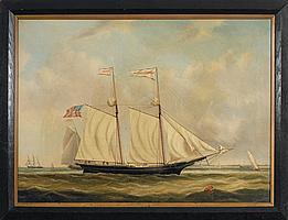 """JOSEPH B. SMITH (AMERICAN 1798-1876). THE SCHOONER """"MARGARET JOHNSON."""""""