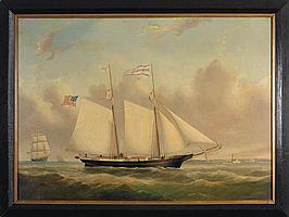 "JOSEPH B. SMITH (AMERICAN 1798-1876). THE SCHOONER ""JONATHAN T. JOHNSON."""