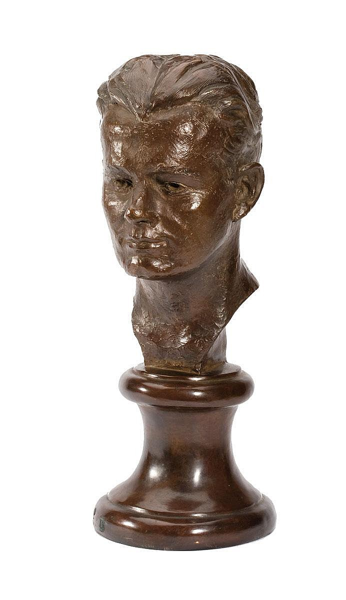 RUTH WALKER BROOKS (AMERICAN, B. 1909, ACT. 1930'S). BRONZE BUST OF A YOUNG MAN.