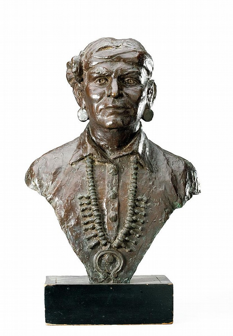 RUTH WALKER BROOKS (AMERICAN, B. 1909, ACT. 1930'S). LARGE BRONZE BUST OF A NATIVE AMERICAN MAN.