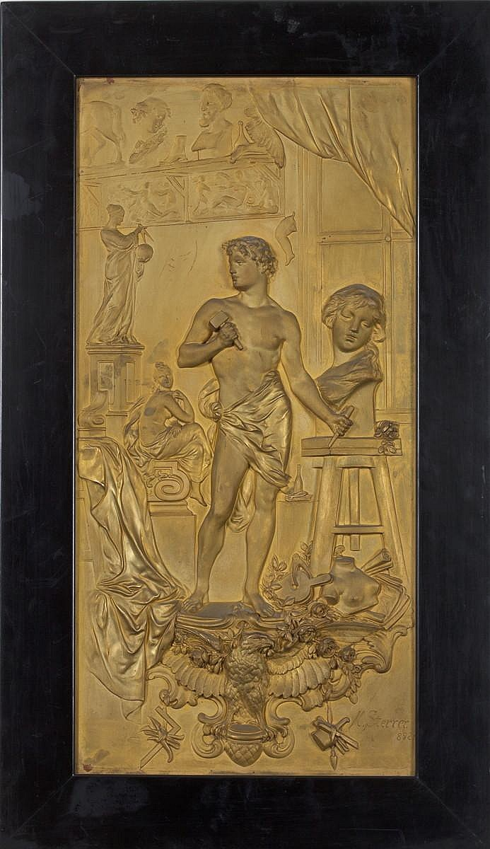 KARL STERRER (AUSTRIAN 1844-1918). PAIR OF GILT METAL RELIEF PLAQUES DEPICTING THE ALLEGORICAL FIGURES OF PAINTING AND SCULPTURE.