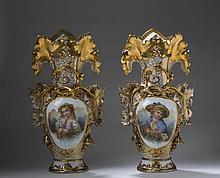 PAIR OF LARGE PARIS PORCELAIN PAINTED AND GILT PORTRAIT VASES, MID-NINETEENTH CENTURY.