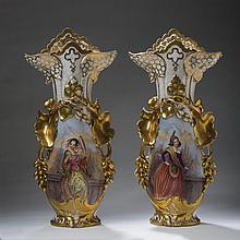 PAIR OF LARGE PARIS PORCELAIN PAINTED AND GILT VASES, MID-NINETEENTH CENTURY.