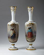 PAIR OF CONTINENTAL PAINTED AND GILT OPAQUE WHITE GLASS VASES, LATE NINETEENTH CENTURY.