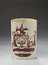 PEACE, PLENTY AND INDEPENDENCE, RARE ENGLISH CREAMWARE SEPIA TRANSFER-PRINTED QUART MUG, 1800-10.