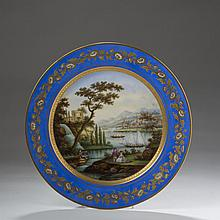 SEVRES (LOUIS-PHILIPPE) PORCELAIN TOPOGRAPHICAL CABINET PLATE, 1845.