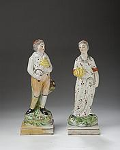 PAIR OF STAFFORDSHIRE FIGURES OF HARVESTERS, 1780-1800.