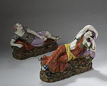 PAIR OF STAFFORDSHIRE PEARLWARE OVER-GLAZE ENAMEL FIGURES OF ANTONY AND CLEOPATRA, NINETEENTH CENTURY.