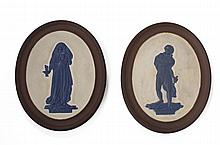 PAIR OF ENGLISH STONEWARE THEATRICAL OVAL PLAQUES, NINETEENTH CENTURY.