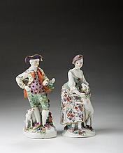 PAIR OF DERBY PORCELAIN FIGURES OF 'THE GARLAND SHEPHERD AND SHEPHERDESS,' CIRCA 1765.