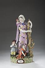 STAFFORDSHIRE PEARLWARE FIGURAL GROUP OF THE 'WIDOW AND ORPHANS,' 1810-20.