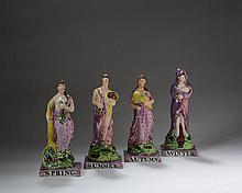 SET OF STAFFORDSHIRE PEARLWARE, ENAMEL AND PINK LUSTRE-DECORATED ALLEGORICAL FIGURES OF 'THE FOUR SEASONS,' PROBABLY DIXON, AUSTIN & CO., 1820-26.