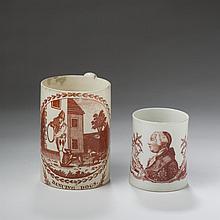DANCING DOGS, ENGLISH CREAMWARE RED TRANSFER-PRINTED MUG, 1790-1810.