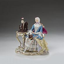 MEISSEN PORCELAIN FIGURE OF A SPINSTER, CIRCA 1880.