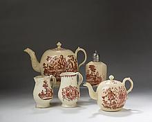 FIVE STAFFORDSHIRE AND YORKSHIRE CREAMWARE RED TRANSFER-PRINTED TEA WARES, 1765-80.