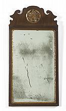 QUEEN ANNE WALNUT AND PARCEL-GILT WALL MIRROR, EIGHTEENTH CENTURY.