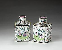 PAIR OF CANTON ENAMEL TEA CADDIES AND COVERS.