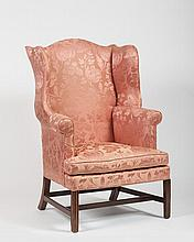CHIPPENDALE MAHOGANY WING CHAIR, CIRCA 1780, PROBABLY MASSACHUSETTS.